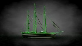 3d rendering of a reflective pirate boat with green outlined lin. Es as blueprint on dark background Stock Images