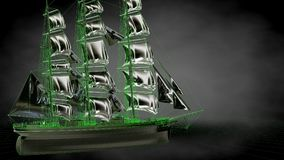 3d rendering of a reflective pirate boat with green outlined lin. Es as blueprint on dark background Royalty Free Stock Image