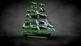 3d rendering of a reflective pirate boat with green outlined lin. Es as blueprint on dark background Royalty Free Stock Photo