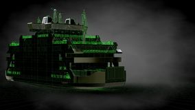 3d rendering of a reflective ship with green outlined lines as b Royalty Free Stock Images