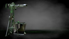 3d rendering of a reflective shoot gun with green outlined lines. As blueprint on dark background Royalty Free Stock Photo