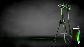 3d rendering of a reflective shoot gun with green outlined lines Royalty Free Stock Photo