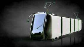 3d rendering of a reflective train with green outlined lines as Royalty Free Stock Photo