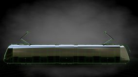 3d rendering of a reflective train with green outlined lines as Stock Photo