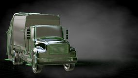 3d rendering of a reflective truck with green outlined lines as Stock Photo