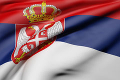 3d rendering of a Republic of Serbia flag Royalty Free Stock Images
