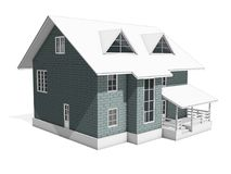 3d rendering of a residential building. The walls are highlighted in gray. 3d illustration of a two-storey cottage house. The walls of the blocks are highlighted Stock Image