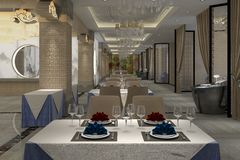 3D rendering of a restaurant interior design Royalty Free Stock Images