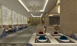 3D rendering of a restaurant interior design Royalty Free Stock Photos