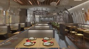 3D rendering of a restaurant interior design Stock Photography