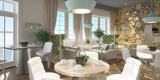 3D rendering of a restaurant interior design Royalty Free Stock Photography