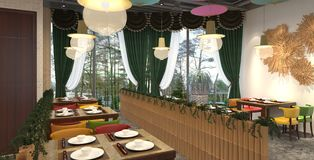 3D rendering of a restaurant interior design Stock Image