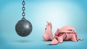 3d rendering of a resting wrecking ball on a chain hangs near a cracked piggy bank on blue background. Royalty Free Stock Photos
