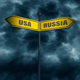 Road arrow sign. 3d rendering of road signs with USA and RUSSIA text pointing in opposite directions. Image relative to politic situation between USA and Russia Stock Image