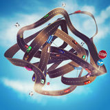 3D Rendering Road traffic tangle stock photos