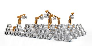 Robot with roll steel. 3d rendering robot arm working with roll steel stock illustration