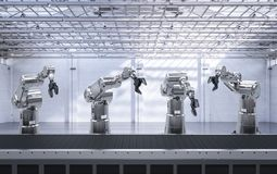 Robot arm with conveyor line. 3d rendering robot arms with conveyor line