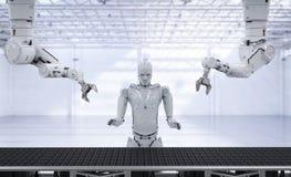 Robot arm with conveyor line. 3d rendering robot arms with cyborg and conveyor line in factory