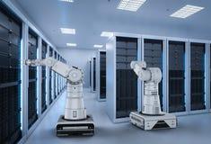 Automation server room. 3d rendering robot arms work in server room stock illustration