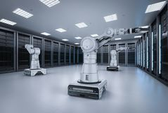 Automation server room. 3d rendering robot arms work in server room royalty free illustration