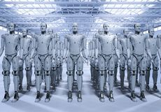 Group of robots. 3d rendering robot assembly or group of cyborgs in factory stock illustration
