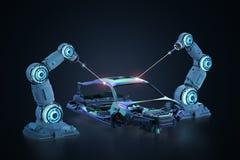 Robot assembly line. 3d rendering robot assembly line in car factory on black background vector illustration