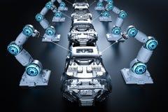 Robot assembly line. 3d rendering robot assembly line in car factory on black background stock illustration