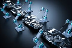 Robot assembly line. 3d rendering robot assembly line in car factory on black background royalty free illustration