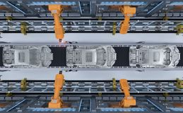 Robot in car factory. 3d rendering robot assembly line in car factory stock illustration