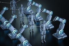 Robotic arm assembly. 3d rendering robot assembly line manufacturing cyborg royalty free illustration