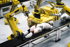 Robot assembly line. 3d rendering robot assembly line producing cyborg in factory royalty free illustration