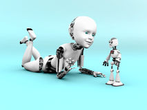3D rendering of a robot child playing. Royalty Free Stock Photos