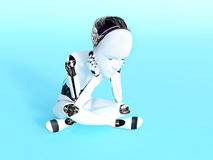 3D rendering of a robot child thinking. Stock Photography