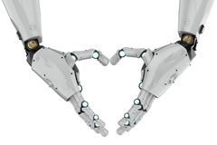 Robot hand heart shape. 3d rendering robot hand gesture heart shape isolated Royalty Free Stock Photography