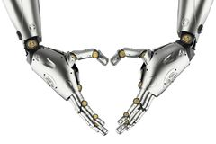 Robot hand heart shape. 3d rendering robot hand gesture heart shape isolated Royalty Free Stock Images