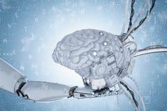 Artificial intelligence brain. 3d rendering robot hand holding artificial intelligence brain Stock Photos