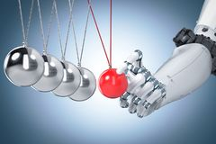 Robot hand holding newton cradle vector illustration