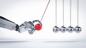 Robot hand holding newton cradle Royalty Free Stock Photo