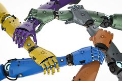 Robot or cyborg teamwork. 3d rendering robot hand holding together or robot teamwork Royalty Free Stock Photo