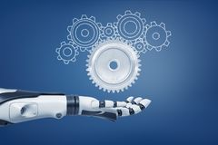 3d rendering of a robot hand with its palm open and ready to catch a light-grey metal cogwheel and unfilled cogwheels of. Various shapes. Robotics and royalty free illustration