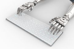 Robot hand with keyboard. 3d rendering robot hand working with computer keyboard Royalty Free Stock Images