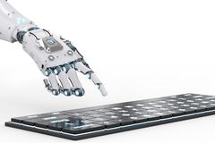 Robot hand with keyboard. 3d rendering robot hand working with computer keyboard Stock Photos