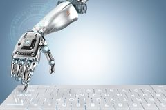Robot hand with keyboard. 3d rendering robot hand working with computer keyboard Stock Photo