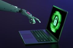 Robot hand with laptop. 3d rendering robot hand working with security laptop stock image
