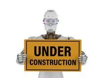 Robot holding under construction sign. 3d rendering robot holding under construction sign Stock Images