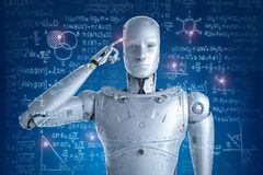 Robot solving problems. 3d rendering robot learning or solving problems royalty free stock images