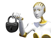 3d rendering robot with padlock isolated on white. Stock Image