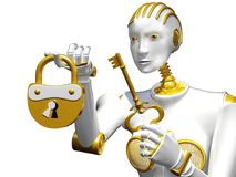 3d rendering robot with padlock and key isolated on white. Royalty Free Stock Photography
