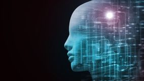 3D Rendering of robot`s head with abstract technology  binary data and software workflow background. stock images