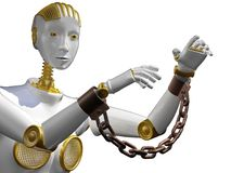 3d rendering robot with shackle  isolated on white. Stock Photos